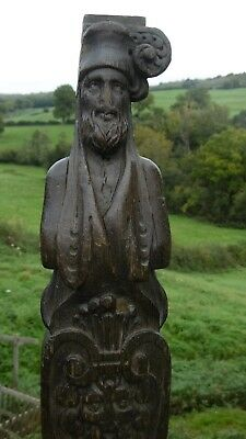 SUPERB 17thc OAK CARVED BEARDED MALE CARYATID WITH LION HEAD TO CENTRE