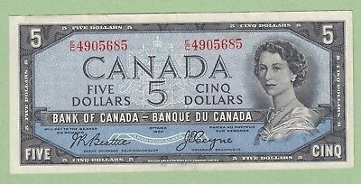 1954 Bank of Canada 5 Dollar Note Devil's Face - Beattie/Coyne - E/C4905685 - EF
