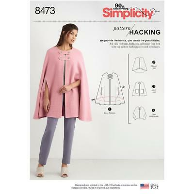 Simplicity Sewing Pattern Misses' Cape With Options Design Hacking Xs-Xl 8473