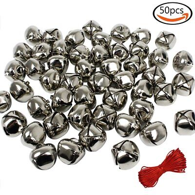 Whonline 1 Inch Silver Christmas Bells 50 Pack for Craft or Decoration & Red