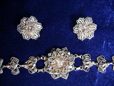 Antique Sterling Silver Filigree Bracelet and Clip-on Earrings (345)