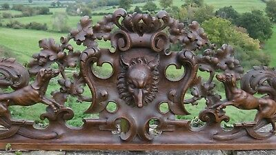 STUNNING 19thc BLACK FOREST OAK CARVED HUNTING PEDIMENT WITH FOX & HOUNDS