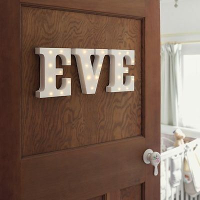 Personalisable Baby Name Girl Boy Door Plaque Battery Wooden Led Letter Lights