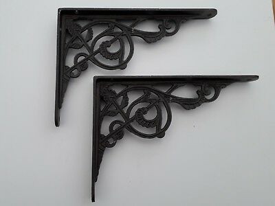 Pair Cast Iron Shelf Brackets Victorian Vintage Rustic Antique  8 x 6 in