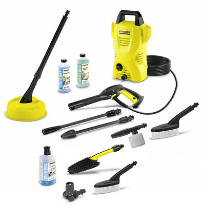 Karcher K2 Compact Pressure Jet Washer + Patio + Car + Bike Wash Accessories Kit