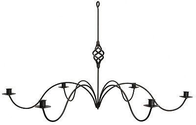 6 ARM LARGE TWISTED BASKET WROUGHT IRON CANDLE CHANDELIER Handcrafted Candelabra