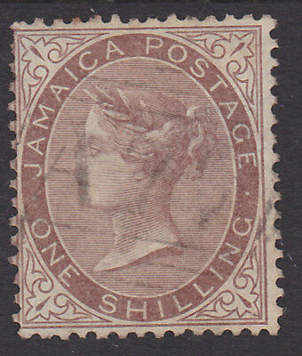 544) Jamaica 1860 - One Shilling Queen Victoria - Watermark  Crown Cc  - Perfect
