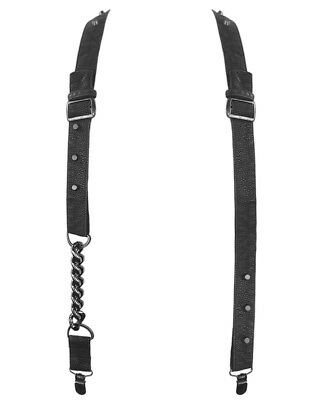Punk Rave Braces Suspenders Black Faux Leather Chain Skull Goth Steampunk VTG
