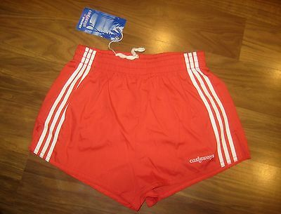 NEW Vtg 70s 80s Red CASTAWAY Athletic Track Shorts Mens XS SMALL swim trunks NWT