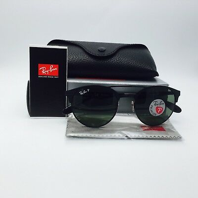 Ray Ban RB3545 188/9A Black Round Sunglasses Gray Polarized 51 mm Lenses