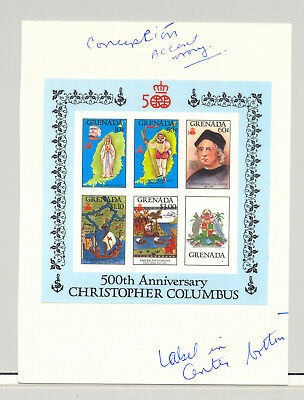 Grenada #1503a Columbus 1v M/S of 3 Chromalin Proof on Card with Notes