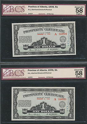 2x CONSECUTIVE SERIAL # 1936 Alberta Prosperity Certificates BCS 100% ORIGINAL!