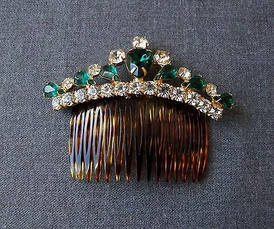 Vintage Green & Clear Crystals Faux Tortoise Shell Hair Comb France Signed