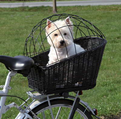 Bike Wicker Basket Dog Cat Small Pet Bicycle Rear Mounted Travel Carrier