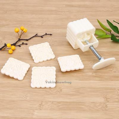 100g Moon Cake Fondant Sugarcraft Flower Stamps Baking Tool Cookies Square Mold