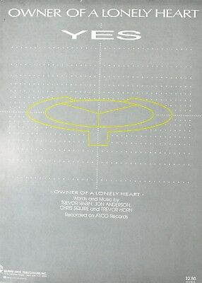 Yes Owner Of A Lonely Heart Vtg Sheet Music 1983 Guitar Tab Vocal Piano Classic