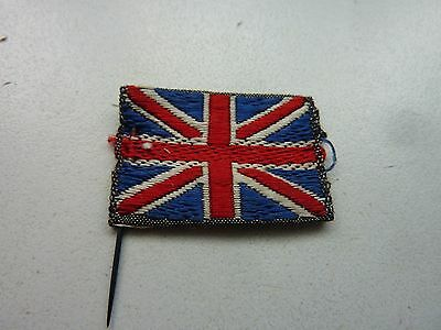 Ww1 Lovely Original Embroidered Union Jack Flag Pin 1 X 1 Inch