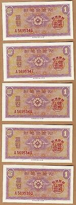 1962 *A* SOUTH KOREA 5 CONSECUTIVE Banknote 1 WON , CRISP UNC - RARE