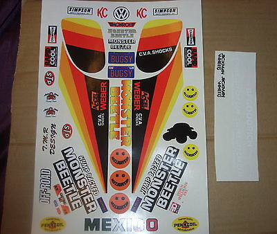 Monster Beetle Custom Red Black Yellow Tamiya  Kyosho Hpi Decals Stickers Precut