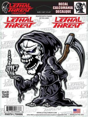 LETHAL THREAT Motorcycle Bike Car Helmet Decal Sticker REAPER FINGER LT90686
