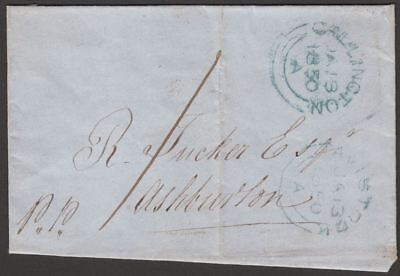 Unstamped 1850 Cover Used Callington to Ashburton with Tavistock mark