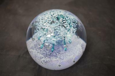Caithness Scotland Marquee glass paperweight blue/green and white studio art