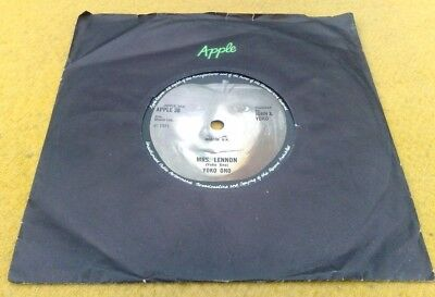 "Yoko Ono "" Mrs. Lennon  "" Super Mega Rare Uk  Apple 38 7"""