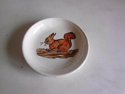 Brannam pottery pin dish with red squirrel depicted.