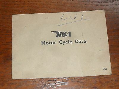 Old BSA Motorcycle Data 1967 Classic Bike Manual