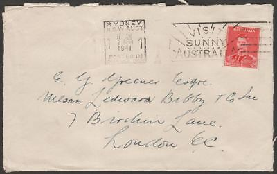 Australia 1941 KGVI 2d Cover Sydney to UK with 1d Lady Gowrie Red Cross Label