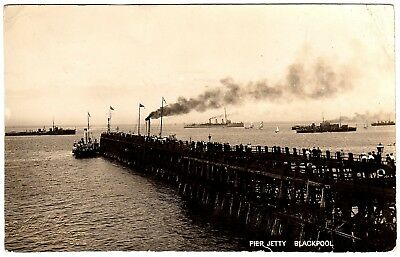 Rare Real Photo Postcard Naval Ships-Yachts-Ferries At Pier Jetty-Blackpool 1910