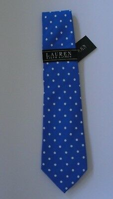 NWT Ralph Lauren Boy's Blue Polka Dot 100% Silk Neck Tie Sz 8 10 12 20 NEW $25