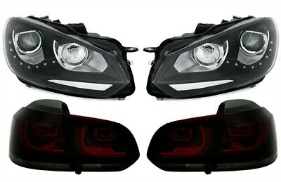 KIT FARI FANALI ANTERIORI + POSTERIORI VW Golf 6 VI Look GT GTD Led nero rosso