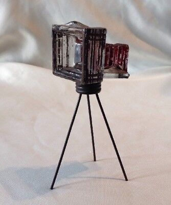 Vintage Glass Camera On Tripod Candy Container