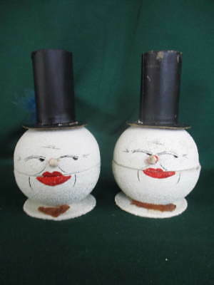 2 Vintage Snowball Snowman Paper Mache Candy Containers Top Hat wBells W Germany