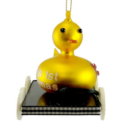 Cherry Designs DUCK PULL TOY Blown Glass Christmas Ornament Baby 1St 1869