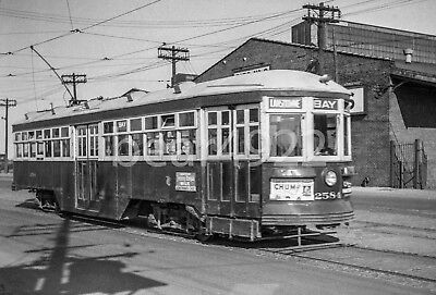 120 Size Trolley Negative: Toronto Ttc 2584 Queen's Quay At Bay St 1950