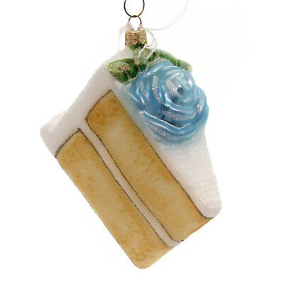 Holiday Ornament BIRTHDAY CAKE-BLUE Blown Glass Pastry Sweet Icing Rose 80050