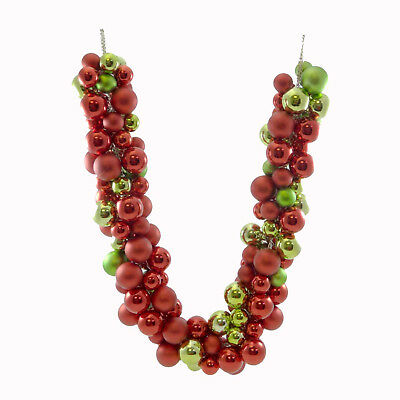 Christmas RED/GREEN BALL GARLAND Metal Plastic Decoration Wreath Tree C87250674
