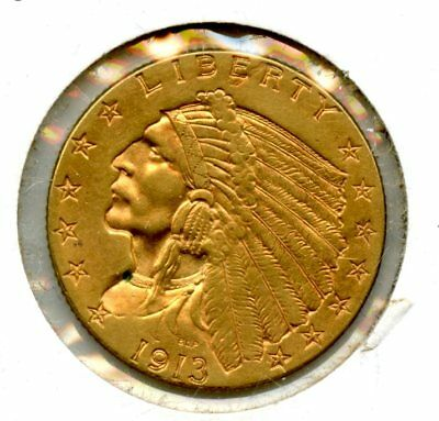 Amazing 1913 Indian Head Eagle $2 1/2 Dollar .90 Fine Gold Coin RR525