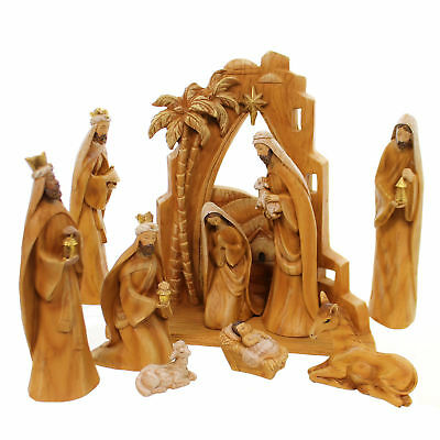 Religious CARVED NATIVITY ST/10 Polyresin Wood Grain Look Jesus 31378