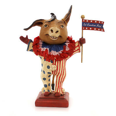 Patriotic LET FREEDOM RING DONKEY Paper Pulp Flag Clown Red White Blue Hh5130