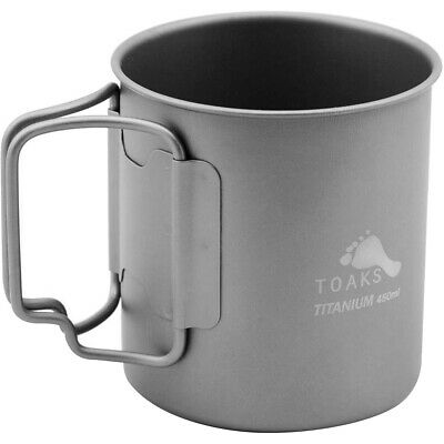 TOAKS Titanium 450ml Cup with Folding Handles - CUP-450 - Outdoor Camping Mug