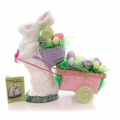 Easter BUNNY WITH CART Paper Rabbit Basket Eggs 3164