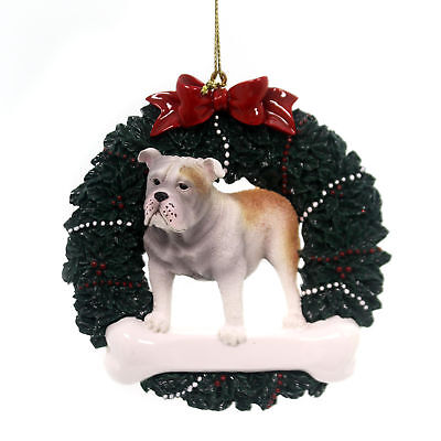 Personalized Ornaments BULLDOG WREATH Resin Dog Christmas Bone OR279
