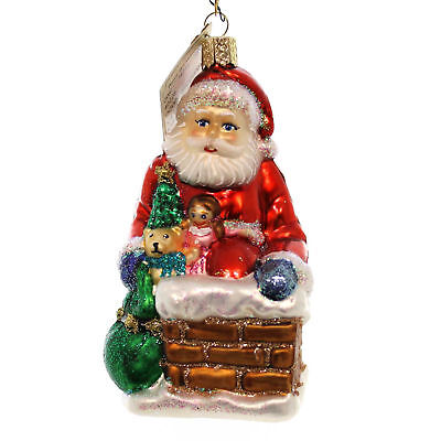 Old World Christmas DOWN THE CHIMNEY Blown Glass 40228