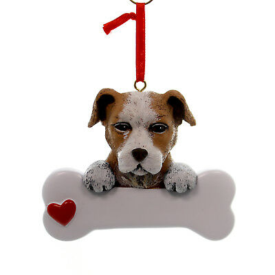 Personalized Ornament STAFFORDSHIRE Polyresin Dog Best Friend Bone 586