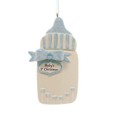 Personalized Ornament BLUE BABY BOTTLE Polyresin Boy First Christmas 942B