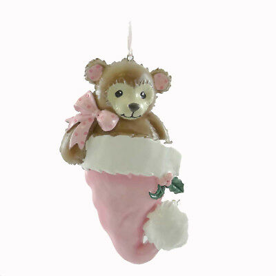 Personalized Ornaments TEDDY BEAR PINK Resin   1St Birth OR784P
