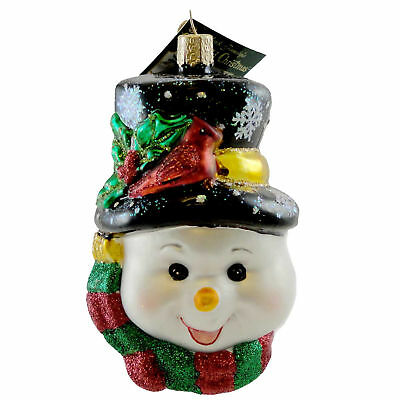 Old World Christmas COLORFUL SNOWMAN Blown Glass Ornament 24087